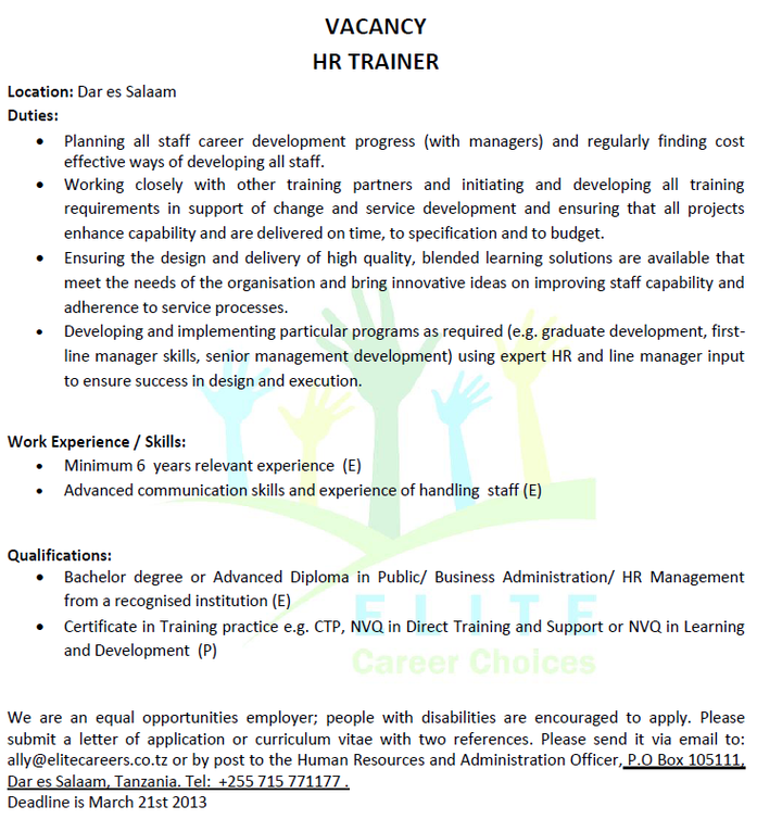 Job Opportunity: HR Trainer Advisor
